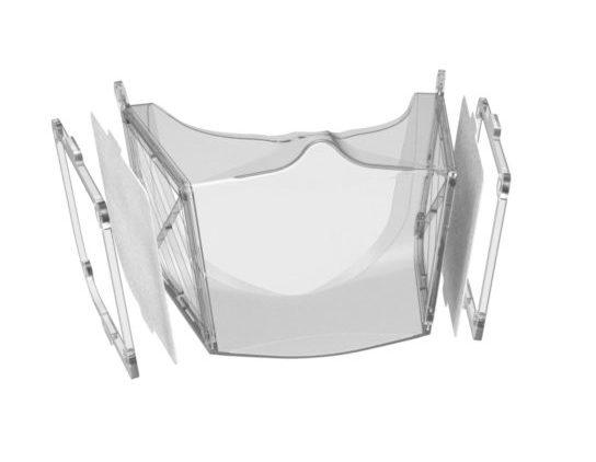 Transparent mundmaske i silikone til beskyttelse mod COVID-19_filtre